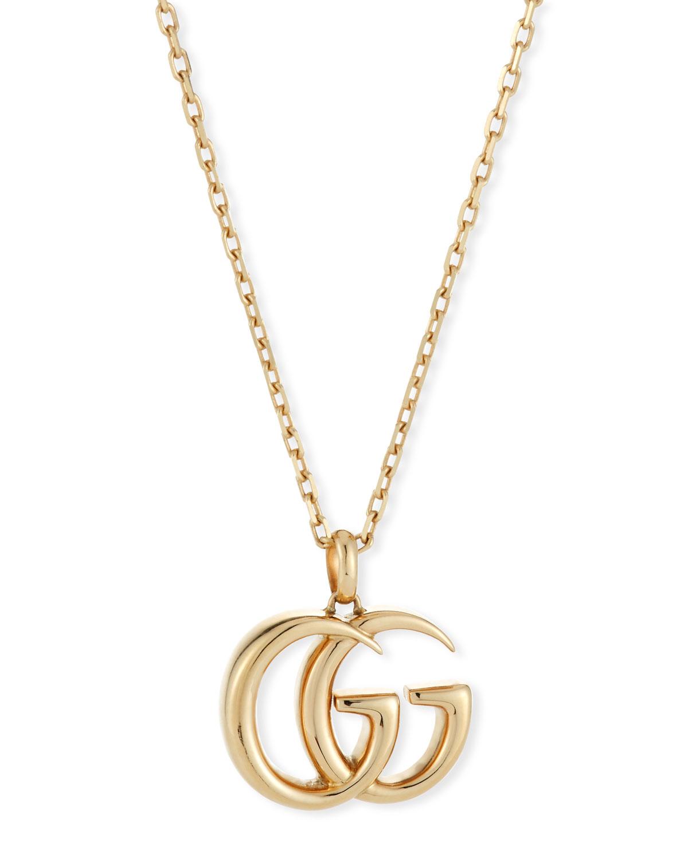 8467617113 18k Gold Running G Pendant Necklace