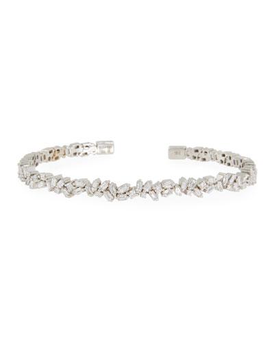 18k White Gold Flexible Diamond Bangle