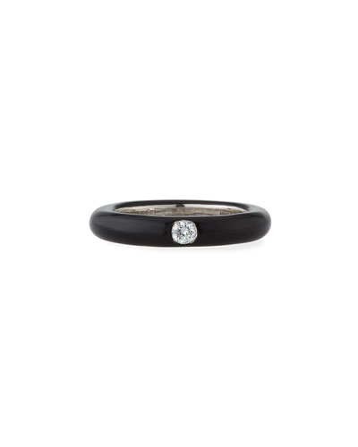 18k White Gold & Black Enamel Single Diamond Ring  Size 6.75