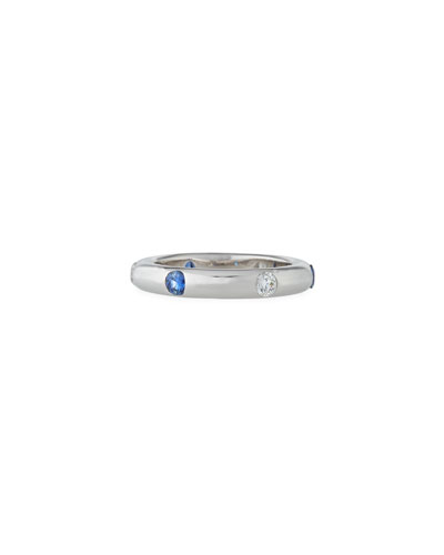 18K White Gold Band Ring with Inset Diamonds & Sapphire  Size 7