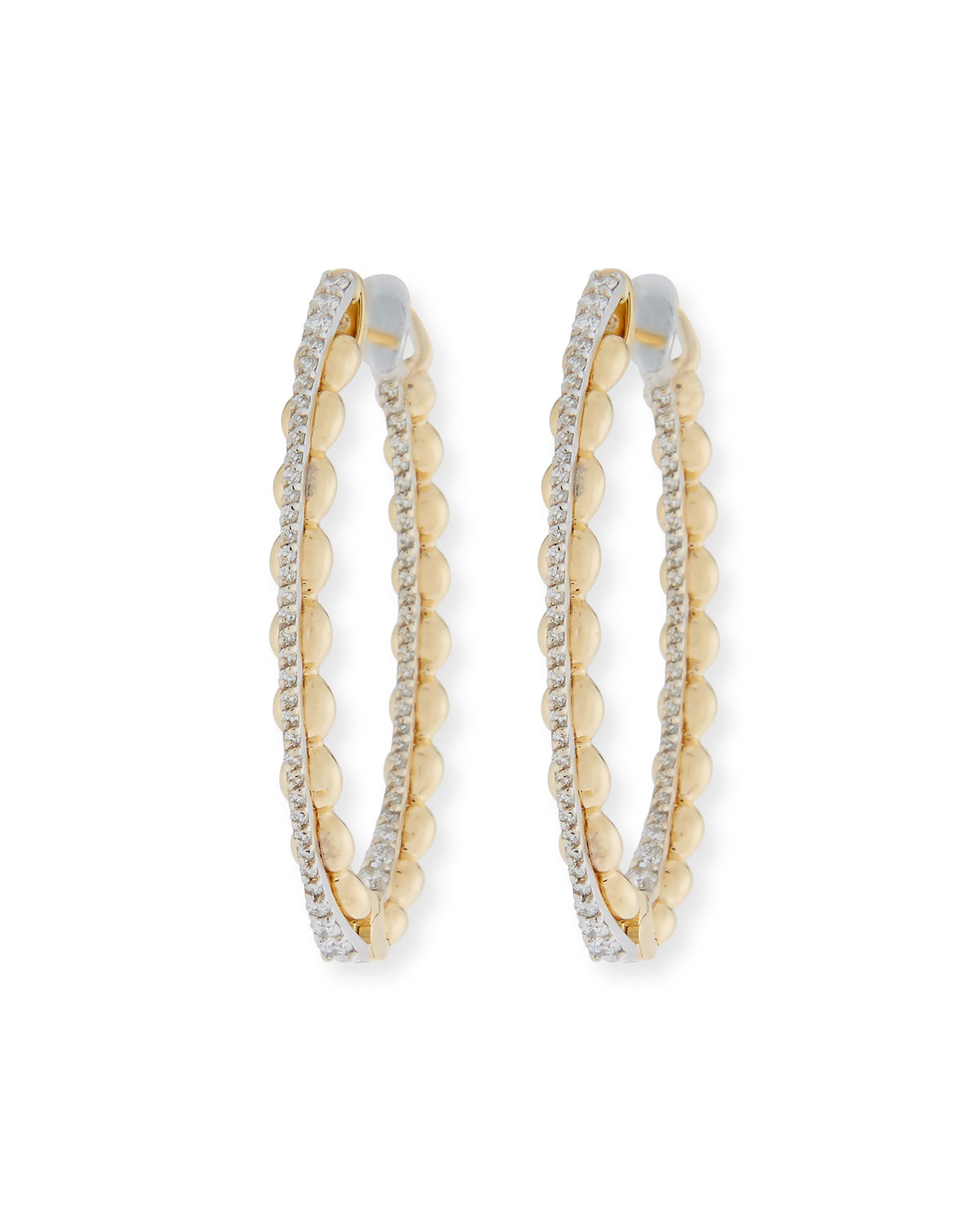 Miseno Marea 18k Gold Two-Tone Medium Diamond Hoop Earrings