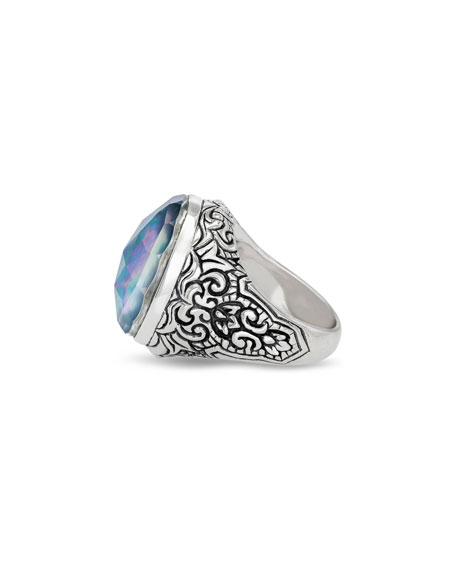 Image 2 of 3: Stephen Dweck Markie Engraved Blue Quartz/Mother-of-Pearl/Black Agate Ring, Size 7