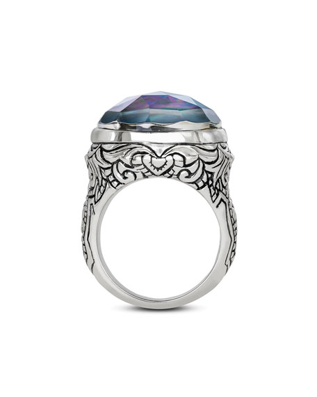 Image 3 of 3: Stephen Dweck Markie Engraved Blue Quartz/Mother-of-Pearl/Black Agate Ring, Size 7