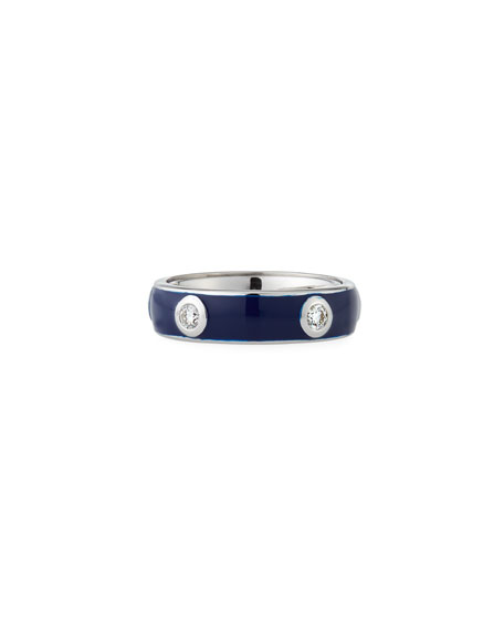 Adolfo Courrier Blue Enamel Band Ring with White Diamonds, Size 7