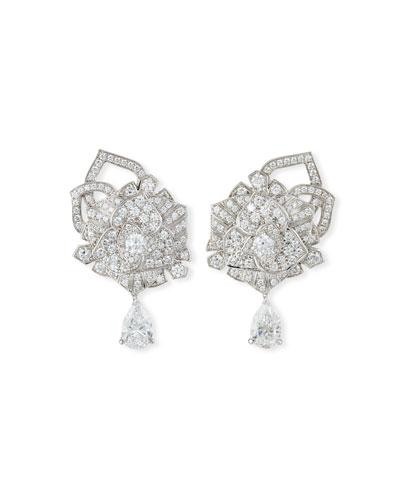 Limelight 18k White Gold Diamond Rose Earrings