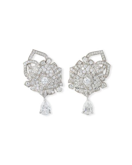 PIAGET Limelight 18k White Gold Diamond Rose Earrings
