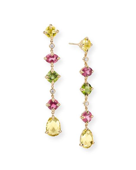David Yurman Chatelaine Multi-Drop Earrings with Citrine, Tourmaline, Peridot & Diamonds