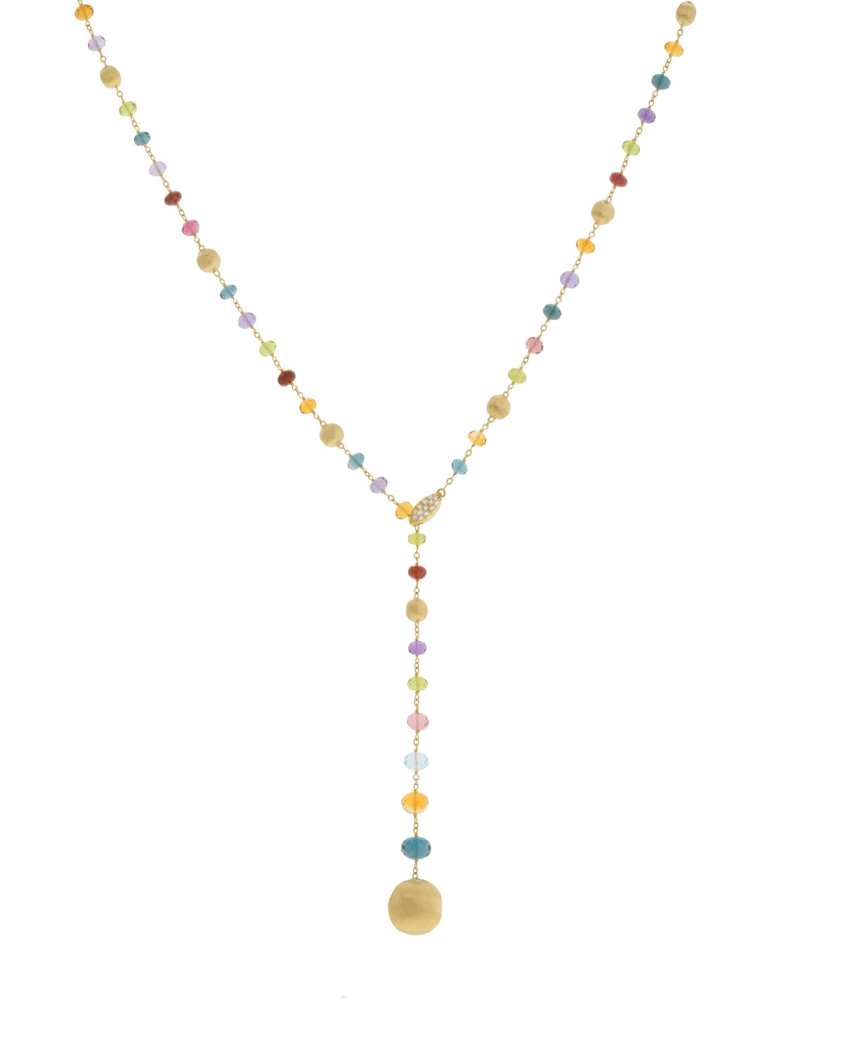Marco Bicego Africa 18k Gold Diamond & Gem Lariat Necklace