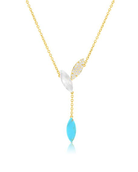 Roberto Coin Petals 18k Rose Gold Turquoise, Diamond & Mother-of-Pearl Necklace