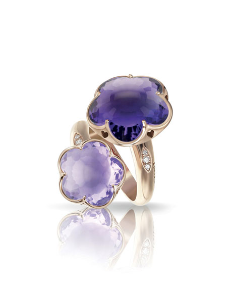 Pasquale Bruni Bon Ton 18k Rose Gold Amethyst 2-Flower Ring w/ Diamonds