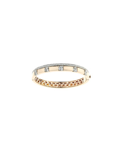 Round & Marquise Diamond Bangle in 18k Gold, 1.81tcw