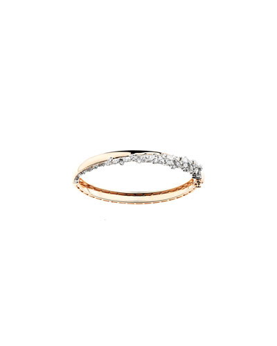 Round & Marquise Diamond Bangle in 18k Gold, 2.23tcw