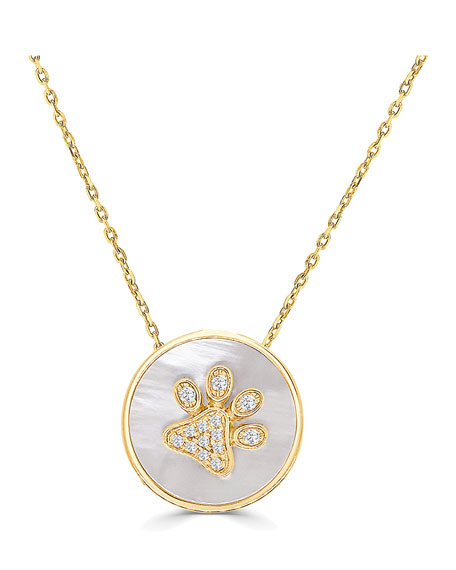 Frederic Sage 18k Gold Diamond Paw & Mother-of-Pearl Pendant Necklace