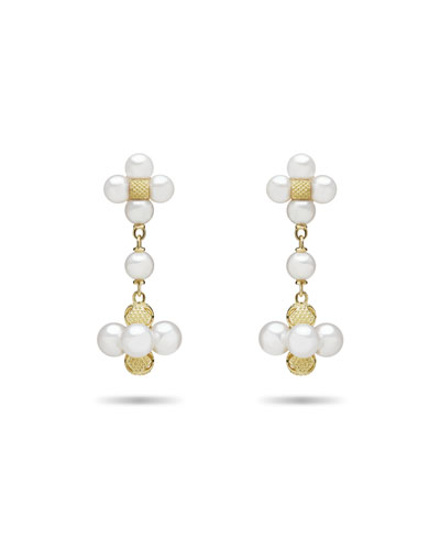Pearl Sequence Drop Earrings in 18k Gold