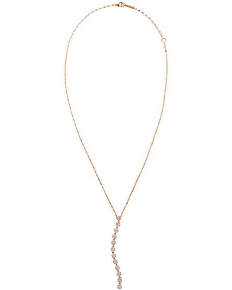 LANA 14k Rose Gold Legacy Diamond Lariat Necklace