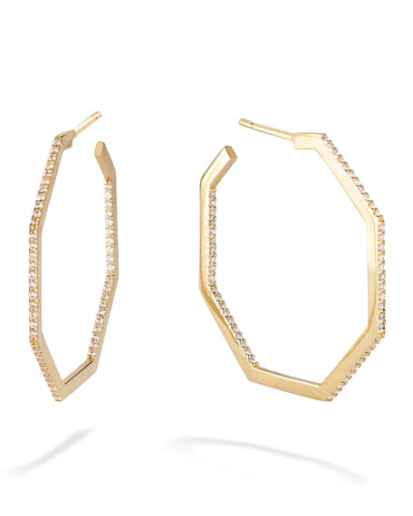 LANA 14k Gold & Diamond Hexagon Hoop Earrings
