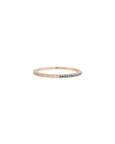14k Rose Gold Skinny Band Ring with White/Blue Diamonds, Size 7
