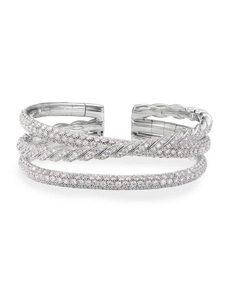David Yurman Paveflex 18k White Gold Diamond Bracelet, Size M