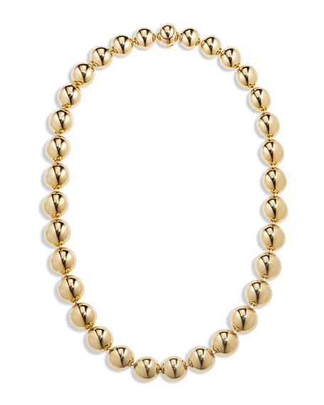 "CADAR 18k Gold Bead Necklace, 16""L"