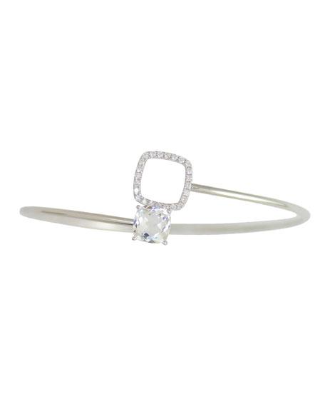 Frederic Sage 18k White Gold Diamond & Topaz Bangle Bracelet