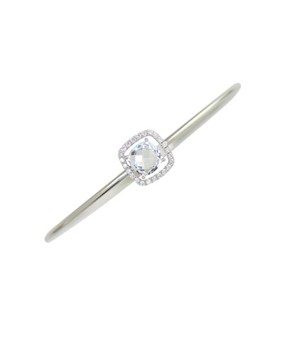 18k White Gold Diamond & Topaz Bangle Bracelet