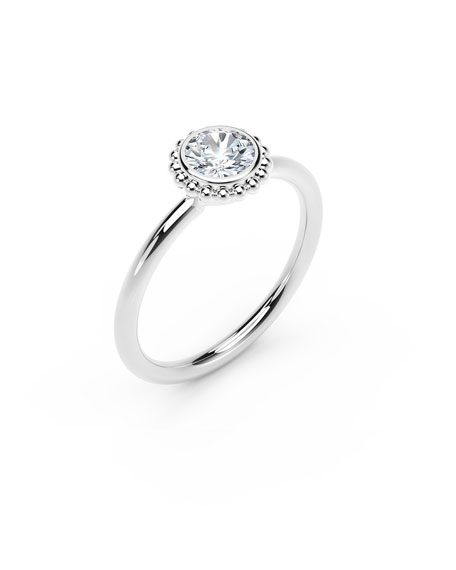 Image 2 of 2: Forevermark 18k White Gold Diamond Beaded Engagement Ring, 0.25tcw