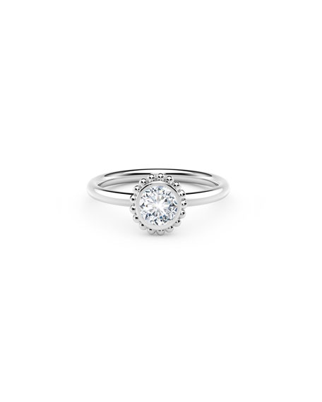 Image 1 of 2: Forevermark 18k White Gold Diamond Beaded Engagement Ring, 0.25tcw
