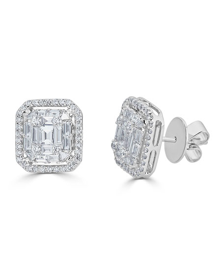 ZYDO 18k Mosaic Mixed-Cut Diamond Stud Earrings, 1.43tcw