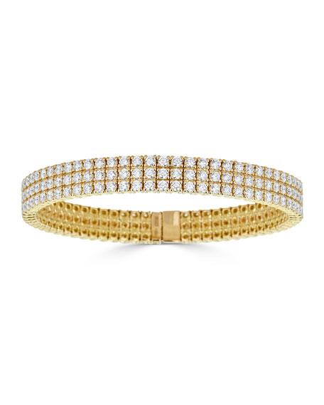 ZYDO Diamond 3-Row Stretch Bracelet in 18k Gold