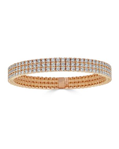 ZYDO Diamond 3-Row Stretch Bracelet in 18k Rose Gold