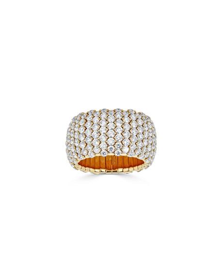 ZYDO 18k Gold Diamond Stretch Ring, 6.22tcw