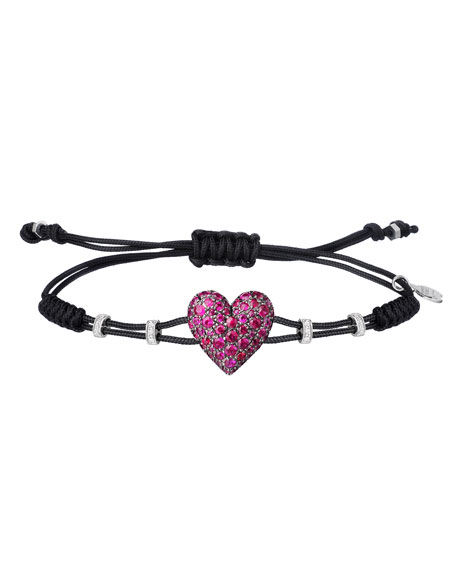 Pippo Perez 18k White Gold Diamond & Ruby Heart Bracelet