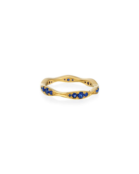 Maria Canale 18k Gold Blue Sapphire Narrow Wave Ring