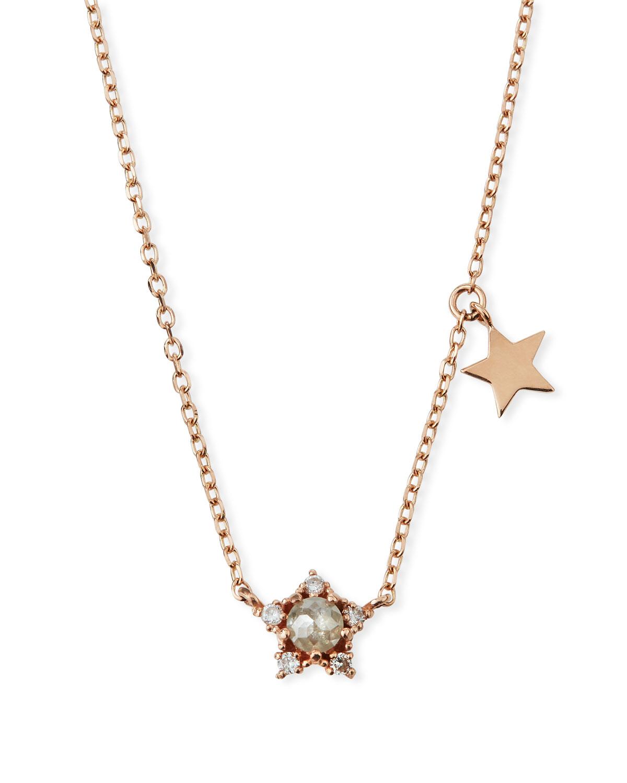 befb68918663e 14k Rose Gold Diamond Star Necklace