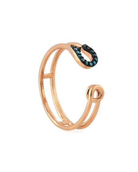 Stevie Wren 14k Rose Gold Safety Pin & Blue Diamond Ring, Size 7