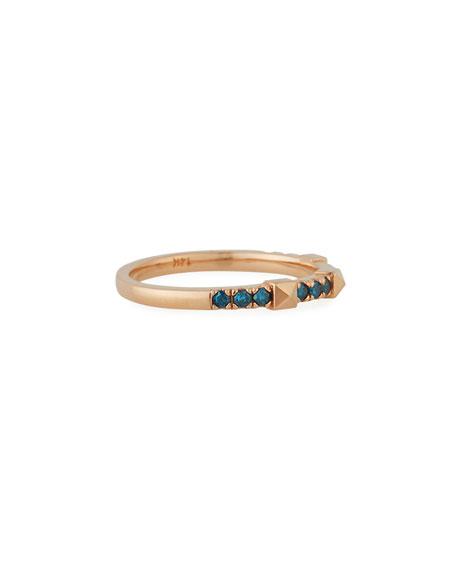 Stevie Wren 14k Rose Gold Blue Diamond Pyramid Ring, Size 7