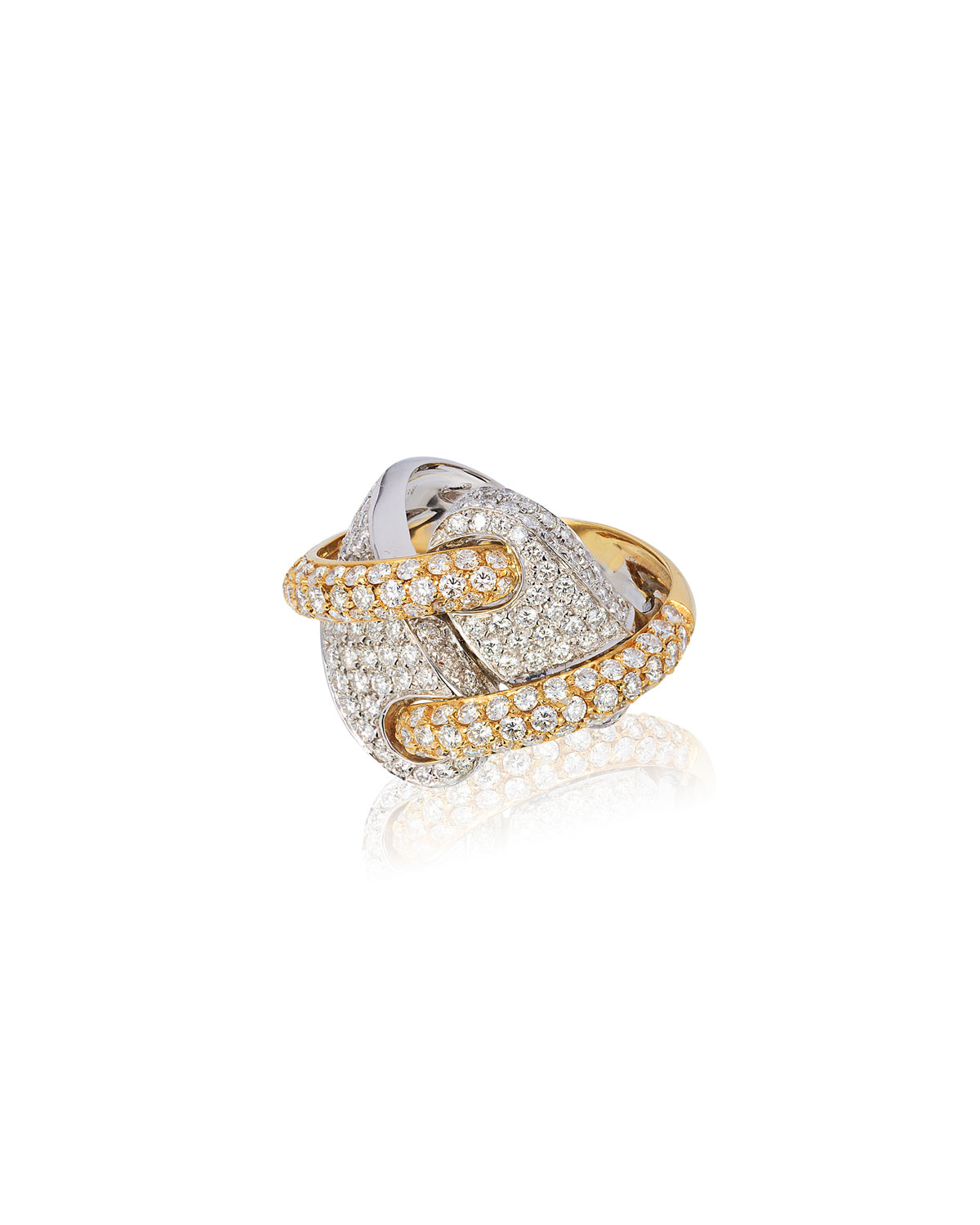 Andreoli 18k 2-Tone Gold Diamond Ring, Size 7.75