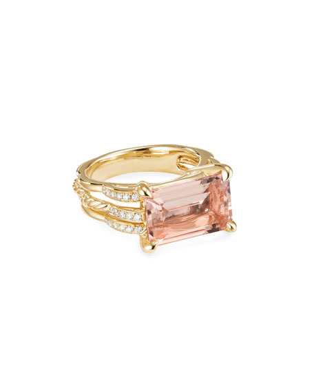 Image 1 of 3: David Yurman Tides 18k Gold Diamond & Morganite Ring, Size 6