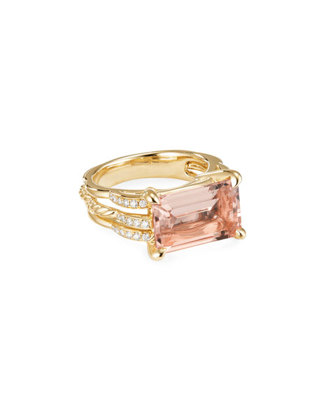 Image 1 of 3: David Yurman Tides 18k Gold Diamond & Morganite Ring, Size 8