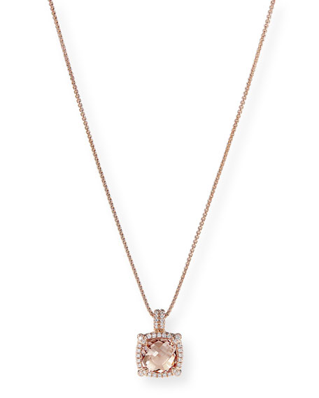 Image 1 of 3: David Yurman Chatelaine 18k Rose Gold Morganite Necklace