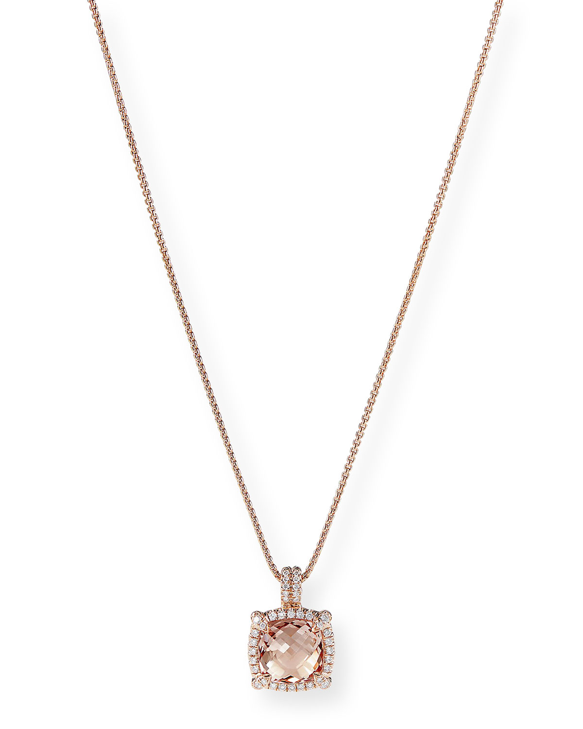 David Yurman Chatelaine 18k Rose Gold Morganite Necklace
