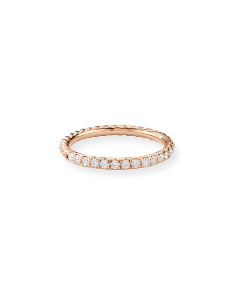 Image 1 of 4: David Yurman Cable Collectibles Pave Diamond Band Ring in 18K Rose Gold, Size 8