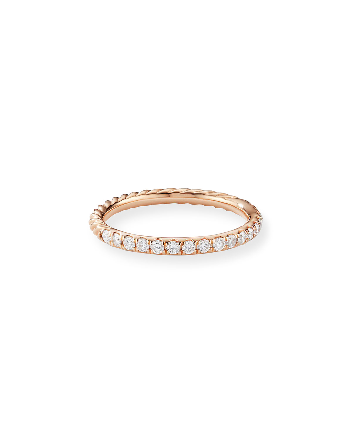 David Yurman Cable Collectibles Pave Diamond Band Ring in 18K Rose Gold, Size 9