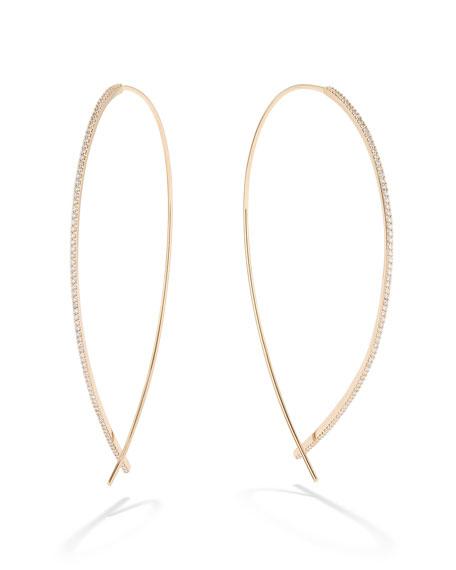 LANA 14k Gold Large Upside Down Skinny Diamond Hoop Earrings
