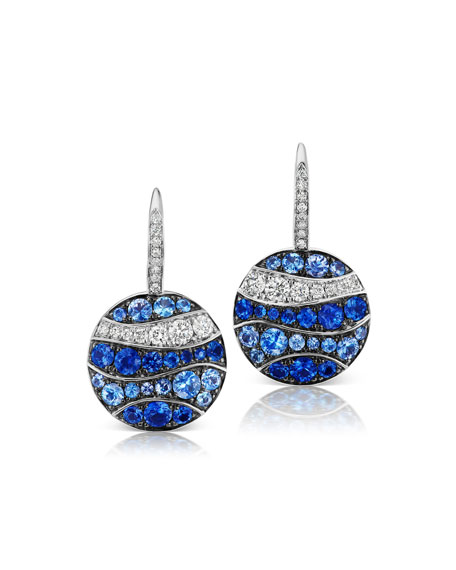 Maria Canale 18k White Gold Sapphire & Diamond Wavy Earrings