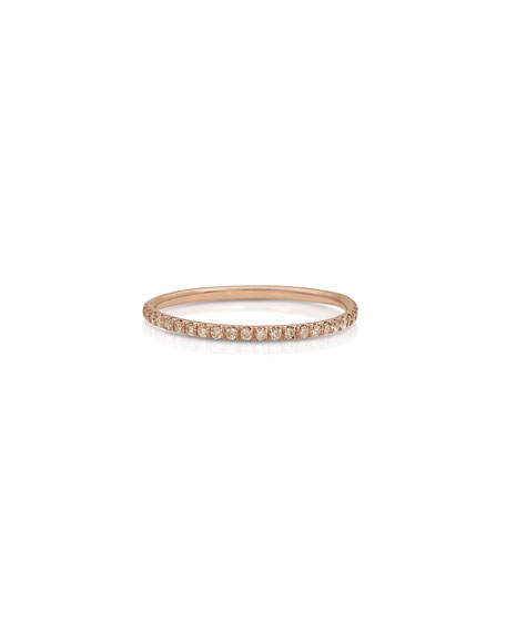 Dominique Cohen 18k Rose Gold Champagne Diamond Delicate Stacking Ring, Size 7