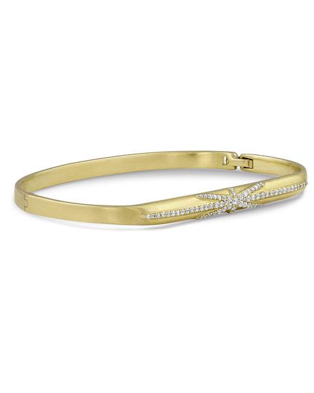 Dominique Cohen 18k Gold Northstar Diamond Hinged Huggie Bangle Bracelet