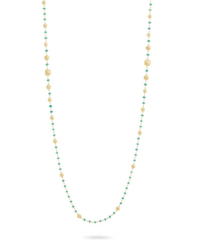 18k Gold Africa Emerald Long Necklace