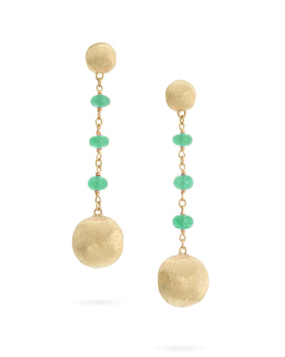 18k Gold Africa Emerald Long Drop Earrings