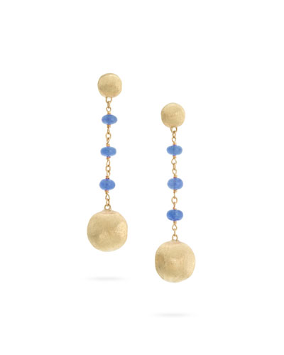18k Gold Africa Sapphire Long Drop Earrings